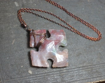 Jasper Cross Necklace Antiqued Copper Wire Wrapped Fancy Jasper Gemstone Pendant Rustic Jewelry