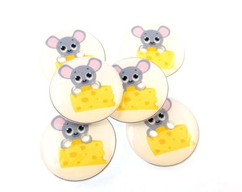 "6 Mouse Buttons for Sewing.  Mouse and Cheese Buttons.  Handmade By Me Mouse Buttons for Crafts.  3/4"" or 20 mm. Washer and Dryer Safe."