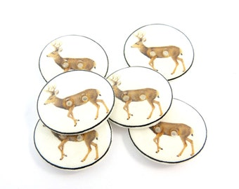 "6 Deer Buttons. Deer or Buck Handmade Buttons for Sewing. Woodland Animal. 3/4"" or 20 mm round."