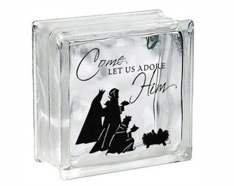 """Christmas Vinyl Decal Decor """"Come Let Us Adore Him Wise Men"""" DIY Glass Block Decal Sticker, Tile or Plate Decal Holiday Christian Gift Sign"""