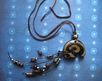 Elephant Spirit - bone horn leather African tribal necklace