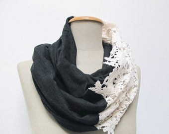 lace infinity scarf loop in creme, grey