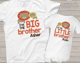 Big brother little brother or any brother sister combination matching lion sibling Tshirt set