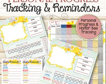 Personal Progress and Honor Bee Tracking and Reminders - INSTANT DOWNLOAD