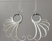 White Wing Earrings with soft spikes on sterling thread chains