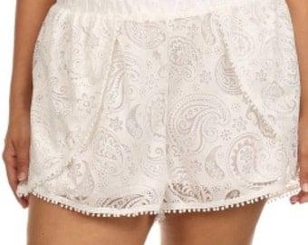 Plus Size Shorts Paisley Lace Plus Size Shorts