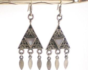 Mother of Pearl Earrings  - Mop Dangle Pierced Earrings - Boho Hippie Earrings - Vintage Jewelry