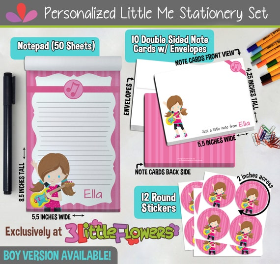 Rock Star Personalized Stationery Set Personalized Children