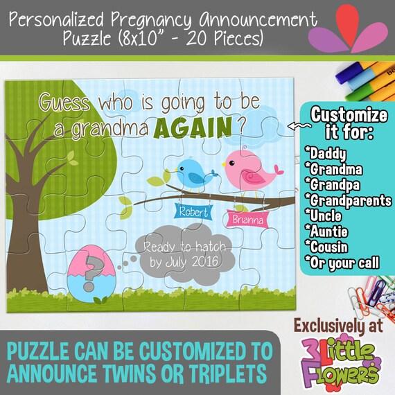 """Personalized Pregnancy Announcement Puzzle - Personalized 8"""" x 10"""" Puzzle - Grandmother Pregnancy Announcement Puzzle - Custom Puzzle"""