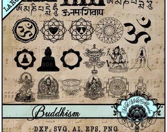 Buddha Clipart, Namaste, Buddhism, Mandala and Quan Yin Illustrations, Om Namah Shivya, Tibetan Clipart, Om Clipart, SVG, ai, eps, png