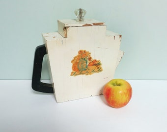 Handmade Soap Powder Dispenser Pitcher, Rare 1940s Wooden Primitive Teapot Shaped, Large, Kitchen Decal, Painted, Glass Knob