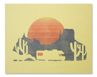RV Art Print / Sunset Print / Travel Print / Desert Wall Art / Arizona Print / Home Decor / 8 x 10