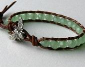 Leather Wrap Bracelet Green Gemstone and Honey Bee Leather Wrap Bracelet Tropical Jewelry Beach Jewelry Boho Hippie Chic Jewelry Bee Jewelry