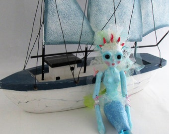 Coral Reef Mermaid Ornament, hanging bead doll handmade in the USA