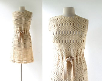 1960s Knit Dress / Lace Shift Dress / 60s Dress / S M
