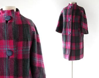 Plaid Wool Coat / 1960s Coat / Mod Coat / M L