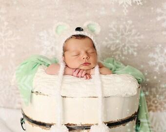 newborn polar bear hat // newborn photo prop // bear hat // boy // girl // winter hat // snow // christmas hat // baby bear hat // bonnet