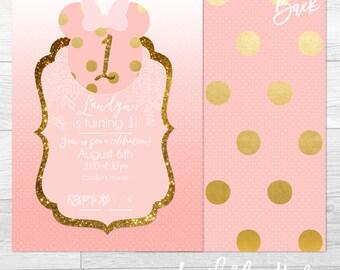 Gold Mouse Polka Dot - Custom Birthday Party Invitation