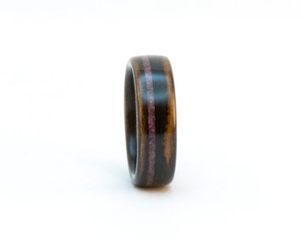 Wooden Ring, Bentwood Ring, Size 7, Ebony and Ruby Ring, Wood Wedding Band, Wood Ring for Women, Wooden Wedding Ring, Wooden Band, Wood Band
