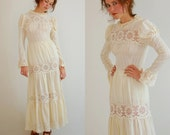 Edwardian Lace Dress Vintage 70s Ivory Textured Cotton Crochet Lace Edwardian Revival Maxi Dress (xs)