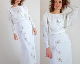 Beaded Cocktail Gown Vintage 60s White Beaded Starburst Draped Cocktail Party Gown (s m)