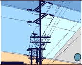 "HIGH TENSION | cat on telephone lines silhouette | Los Angeles at twilight | 8x10"" illustration print by Richard Kaponas"