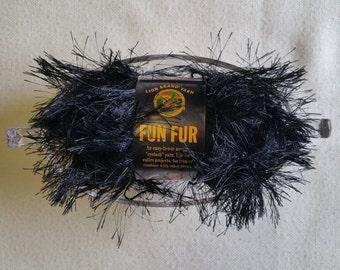 MS004 ~ Fun fur yarn Eyelet yarn Black yarn Lion Brand