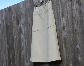 Natural A-Line Skirt with Pockets, Cotton Linen Blend, Modern , More Colors Availible, Custom Made, You choose Fitted, Comfy, Loose