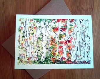 Birthday Card, Friend Birthday Card, Four Seasons, Birthday Card Mom, Happy Birthday Card, Nature Lover, Bday, Woodland, Birch Forest