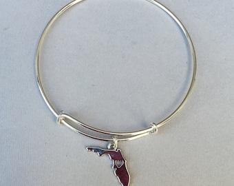 The state of Florida charm bracelet: Adjustable bangle bracelet