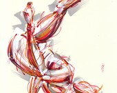 Yoga Art -- Original color drawing on paper // Fallen Angel