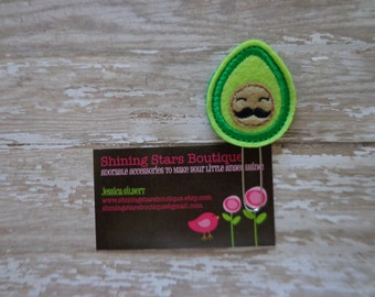 Paper Clips - Lime Green Avocado With A Mustache Felt Paper Clip Or Bookmark - Food Accessories For Planners, Calendars, Or Books