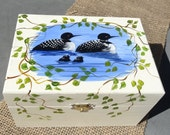 Wooden Recipe Holder hand painted with family of loons, with a cream background, Box, organizer, index.