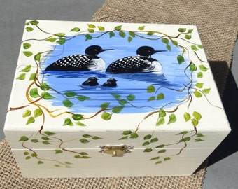 Recipe Holder hand painted with family of loons, with a cream background, Box, organizer, index.