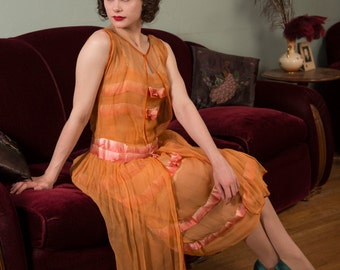 Vintage 1920s Dress - Gorgeous Sheer Silk Crepe Chiffon in Rich Apricot with Ombre Silk Ribbon Trim and Silver Lamé Rosettes