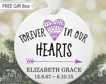 Christmas Memorial Ornament Miscarriage Infant Loss Gift Personalized Remembrance Ornament Forever In Our Hearts Sympathy Gift #OR17MG