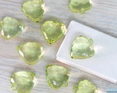 9 Green acrylic big Heart faceted gem-like beads, size 25x27 mm, transparent Lucite beads, chunky beads for DIY craft & Jewelry projects