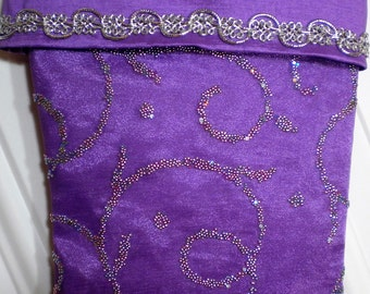 Christmas Stocking in Purple and Silver