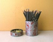 Red and Gray Round Pencil Holder desktop accessories Upcycled Pen Cup  Industrial Decor Office Desk Set Paper Clip Holder Metal Pen Holder