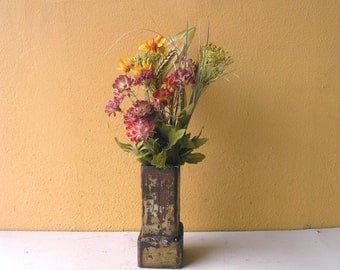 Mini Table Vase, Kitchen Window, Desktop Accessory, Dry Flower Vase, Elegant Industrial, Industrial Salvage, Metal Vessel, Girlfriend gift