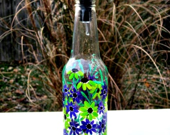 Dish Soap Dispenser,  Recycled Clear Beer Bottle, Painted Glass, Oil and Vinegar Bottle, Lime Green and Purple Flowers