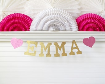 Glitter Name Banner - 5 inch Letters with Hearts - Custom Name Garland Personalized Banner Baby Shower Name Banner Birthday Party Decoration