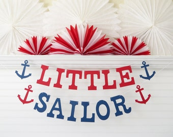 Little Sailor Banner - 5 inch Letters with Anchors - Nautical Birthday Party Banner Nautical Baby Shower Decor Anchor Banner Baby Sailor