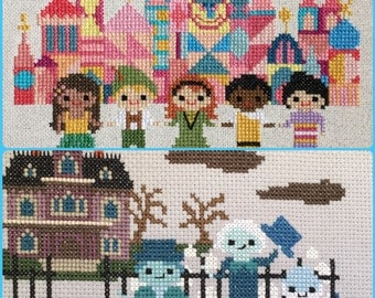 Disney Ride Inspired 2 Pack: Haunted Mansion and Small World Cross Stitch Pattern PDF Instant Download