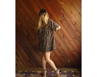 90s Ditsy Floral Tie Sleeve Mini Dress - Vtg - XL Petite