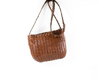 Woven Leather Bag Basket Bag Chocolate Brown Braided Crossbody Carryall Tote