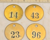 "Lot of 4 Total 1.5"" Brass Number Tags Antique Victorian Numbered Motel Room Key Fob Tag Diy Collage Jewelry Repurpose 14 23 43 96"