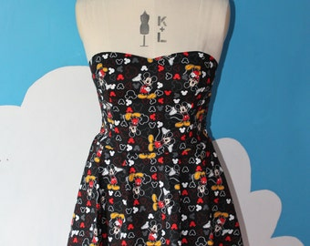 disneys black mickey mouse sweet heart dress - all sizes