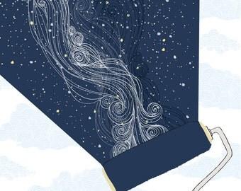 Constellation paint roller print. Night Sky Day Sky Milky Way