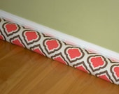 Door Draft Stopper Cover - Premier Prints Curtis Bittersweet, Coral Brown White  - Draught Draughty Blocker , You Pick Size